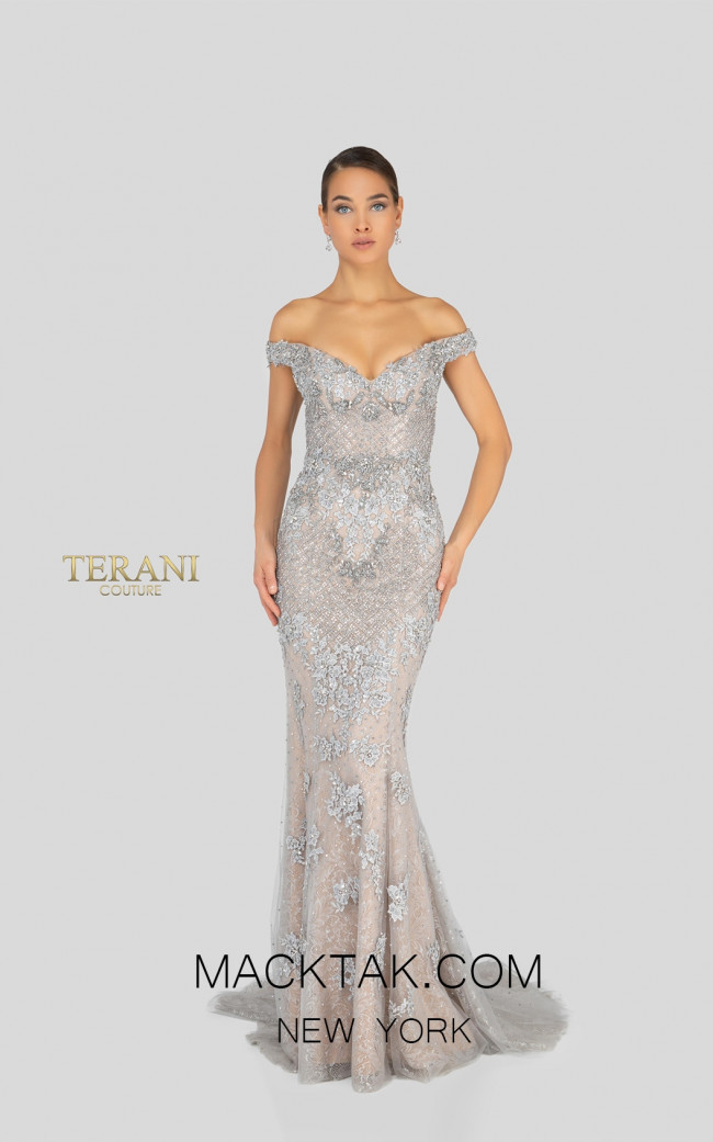 Terani 1913GL9586 Sand Stone Silver Front Pageant Dress