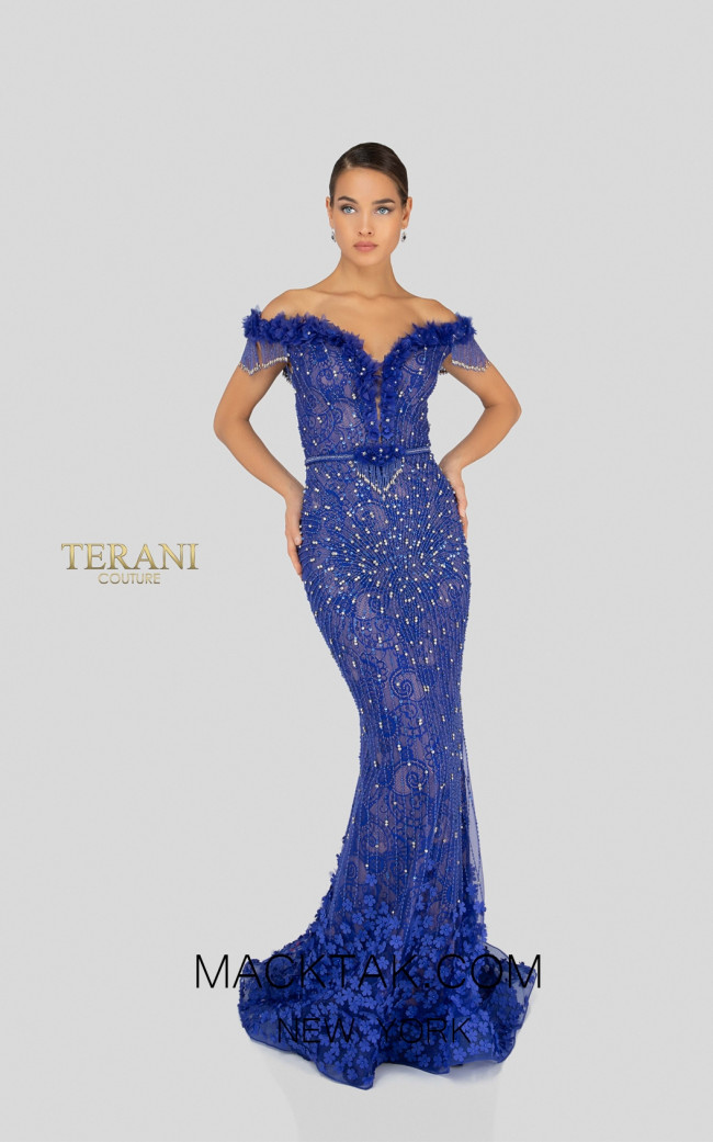 Terani 1913GL9588 Royal Blue Nude Front Pageant Dress