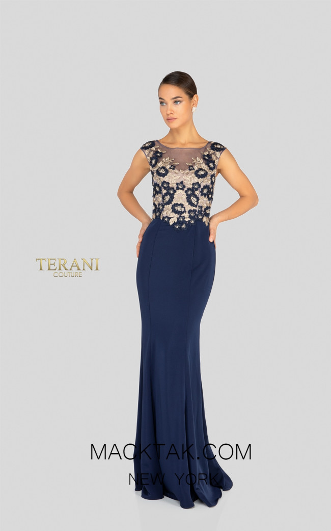 Terani 1913M9398 Navy Multi Front Mother of Bride Dress