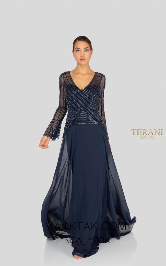 Terani 1913M9403 Indigo Front Mother of Bride Dress