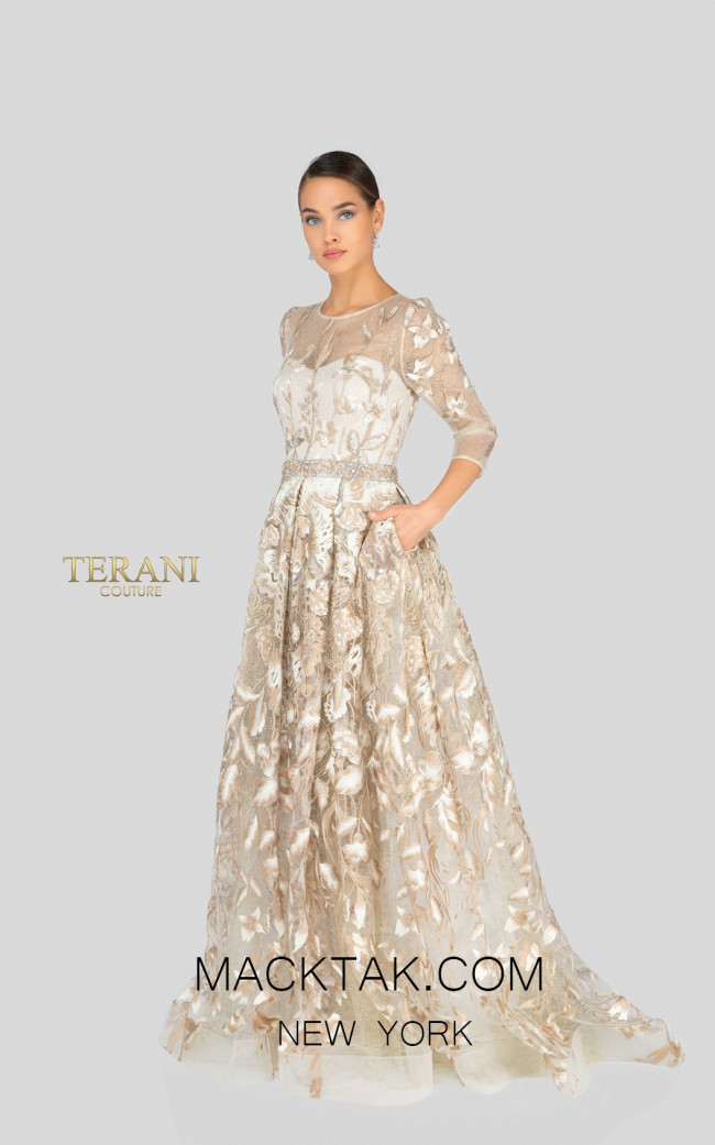 Terani 1913M9408 Mother of Bride Champagne Front Dress