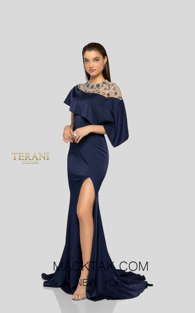 Terani 1913M9431 Mother of Bride Dark Blue Front Dress