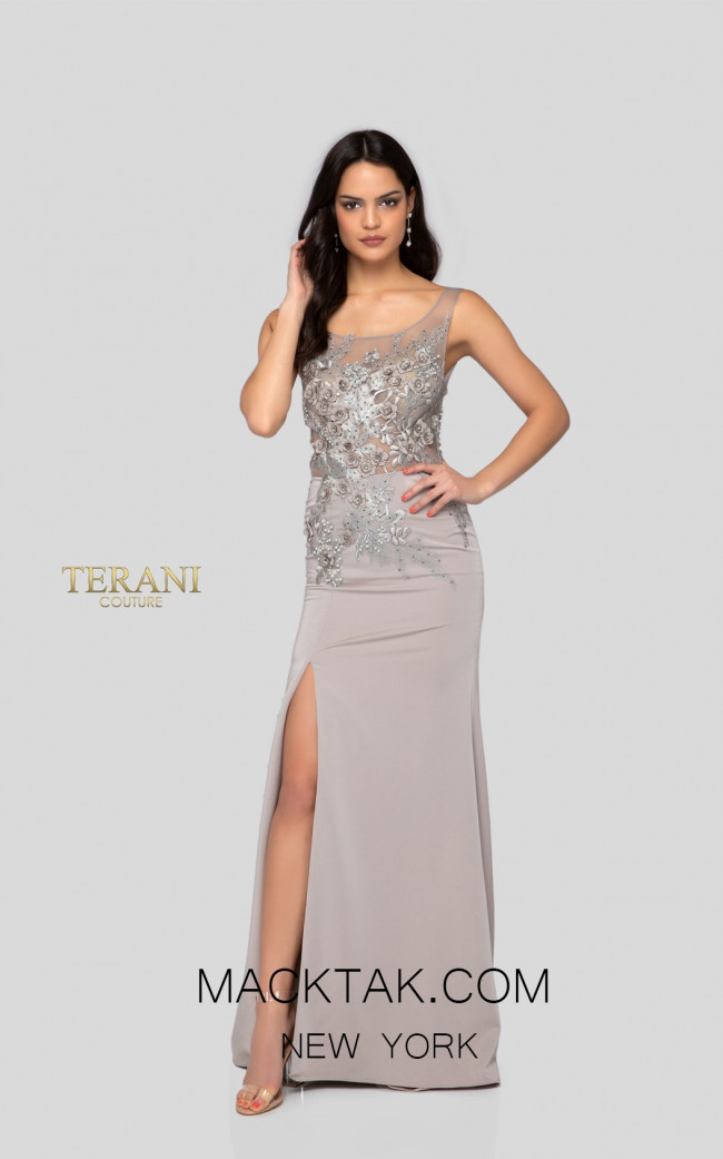 Terani 1915E9731 Terani 1915E9731 Evening Dress Taupe Front Dress