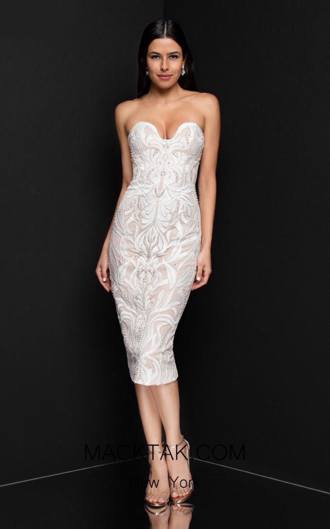 Terani 1811C6027 Ivory Nude Front Dress