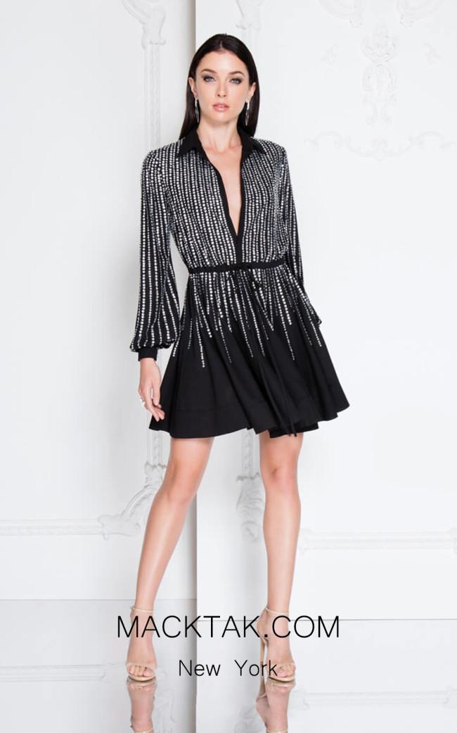 Terani 1812C6042 Black Front Dress