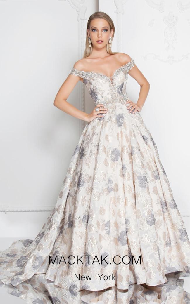 Terani 1813M6718 Champagne Multi Front Dress