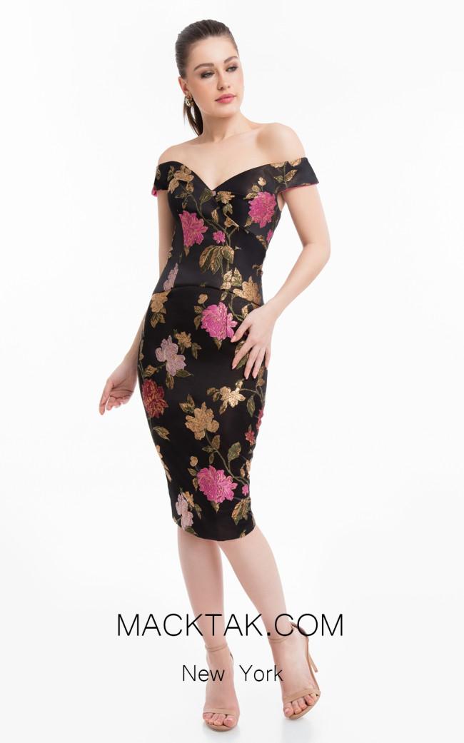 Terani 1821C7007 Black Multi Front Dress