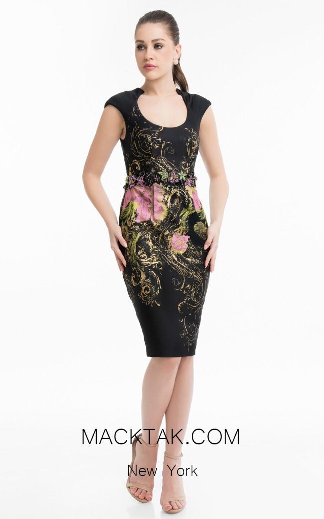 Terani 1821C7025 Black Fuchsia Front Dress