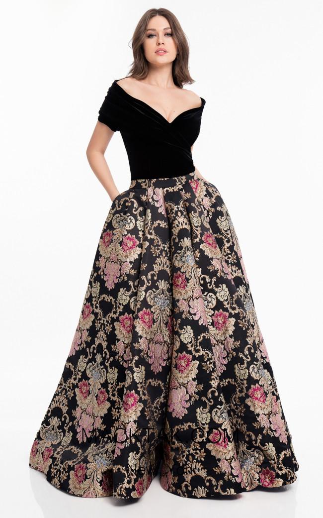 Terani 1821E7116 Black Multi Front Dress