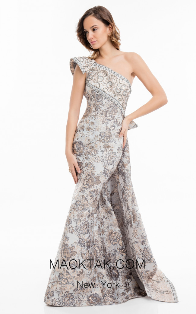 Terani 1821E7144 Silver Gold Front Dress