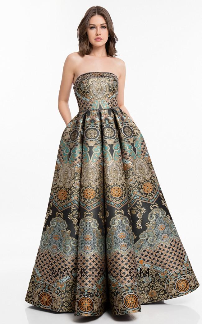 Terani 1821E7163 Black Gold Front Dress