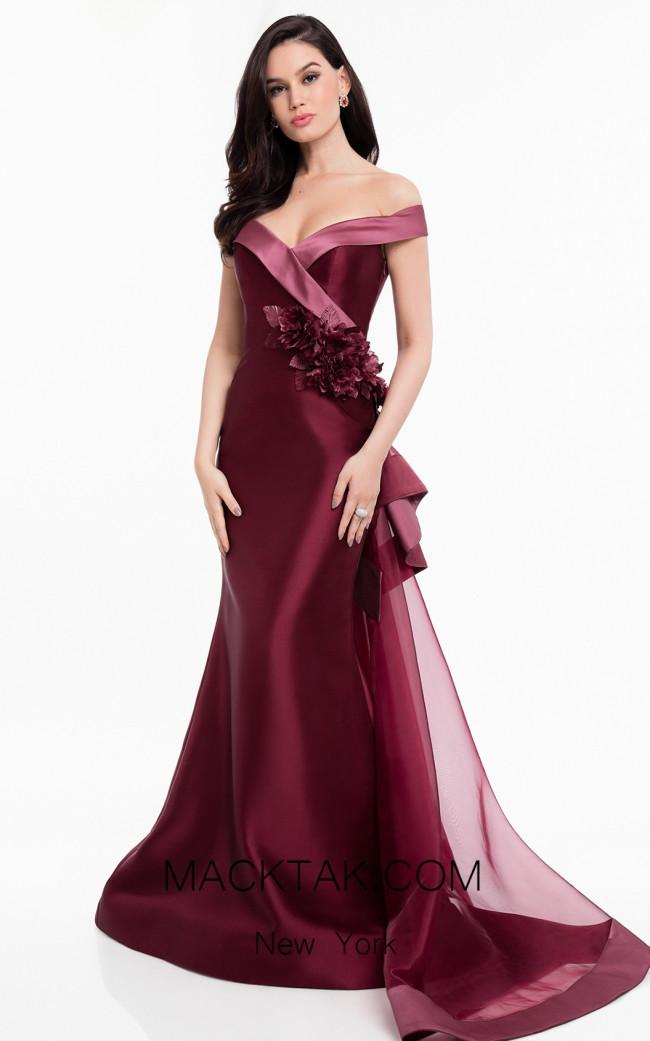 Terani 1821M7558 Wine Mauve Front Dress