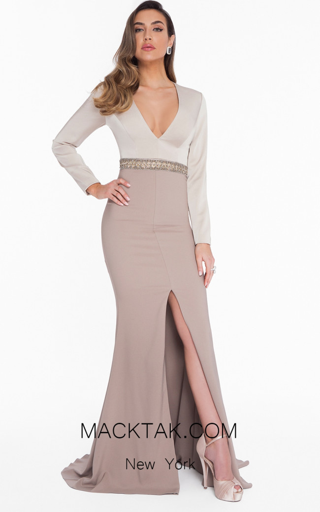 Terani 1821M7581 Champagne Taupe Front Dress