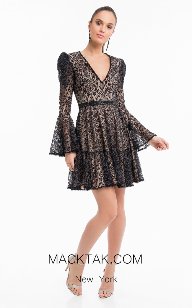 Terani 1822C7046 Black Nude Front Dress