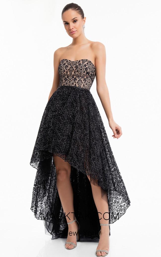 Terani 1822C7047 Black Silver Front Dress