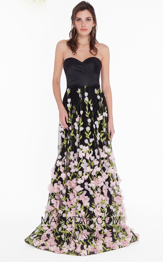 Terani 1822E7293 Black Multi Front Dress
