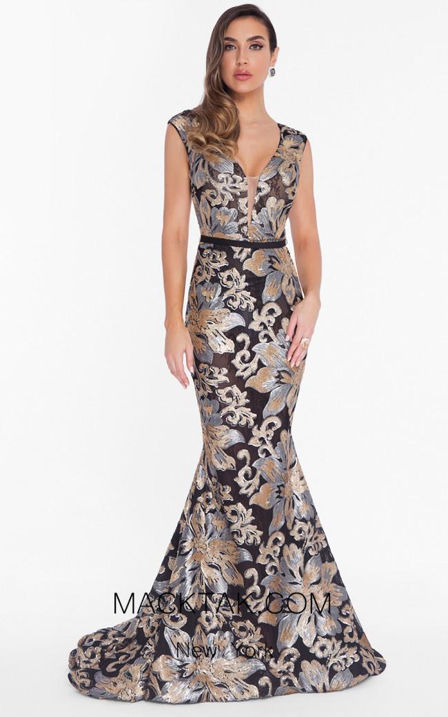 Terani 1823E7351 Black Multi Front Dress