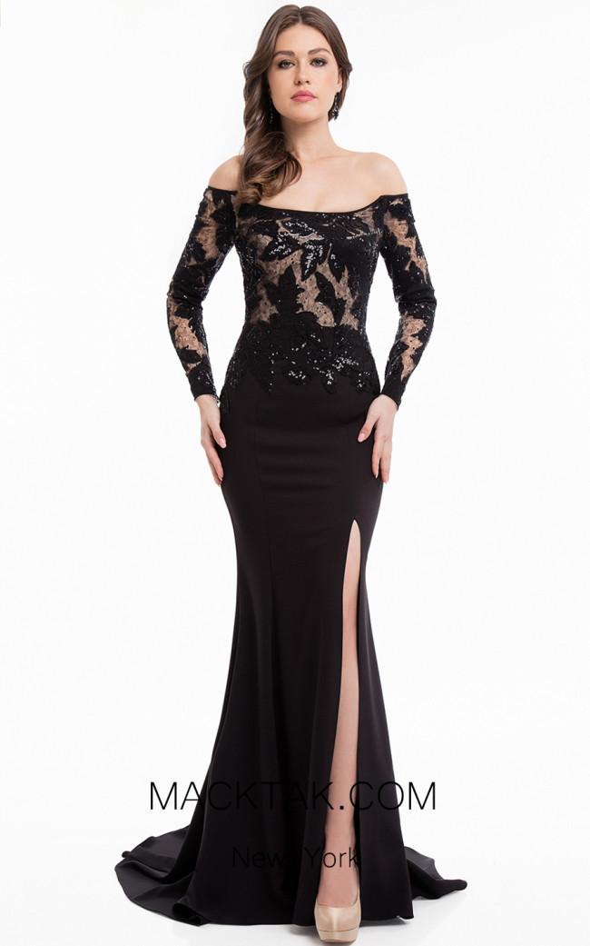 Terani 1823E7358 Black Nude Front Dress