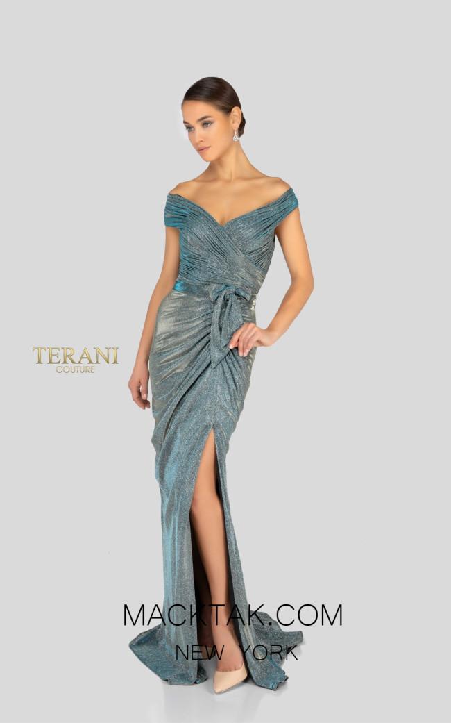 Terani 1911M9344 Mother of Bride Gunmetal Silver Front Dress
