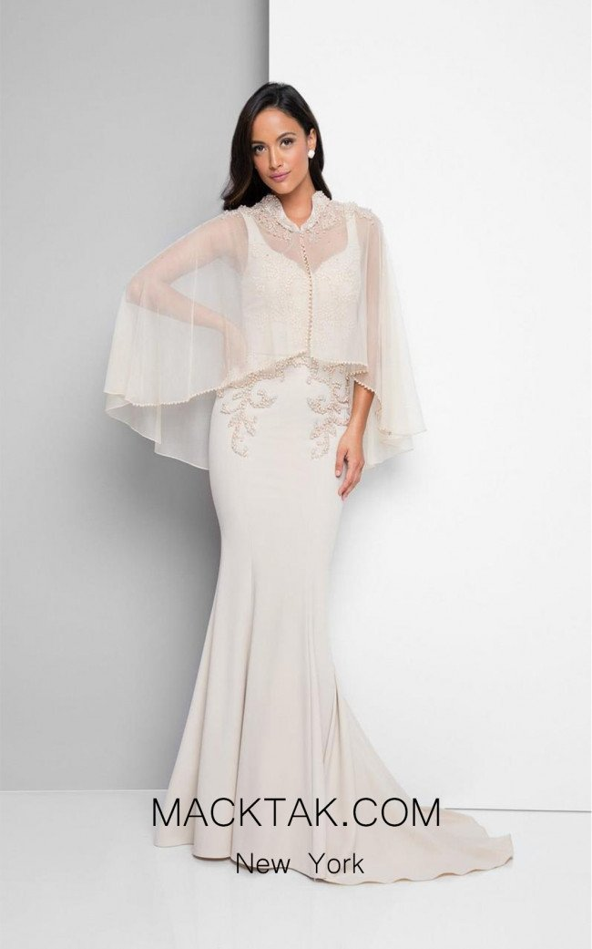Terani 1713M3479 Ivory Front Dress