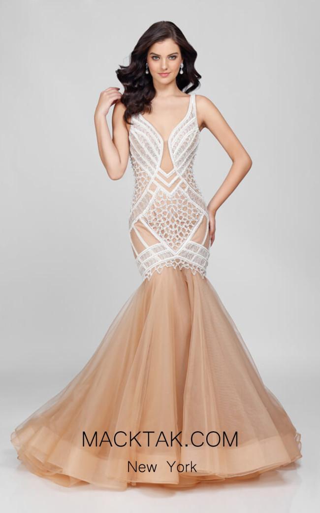 Terani 1722GL4486 Ivory/Nude Front  Dress