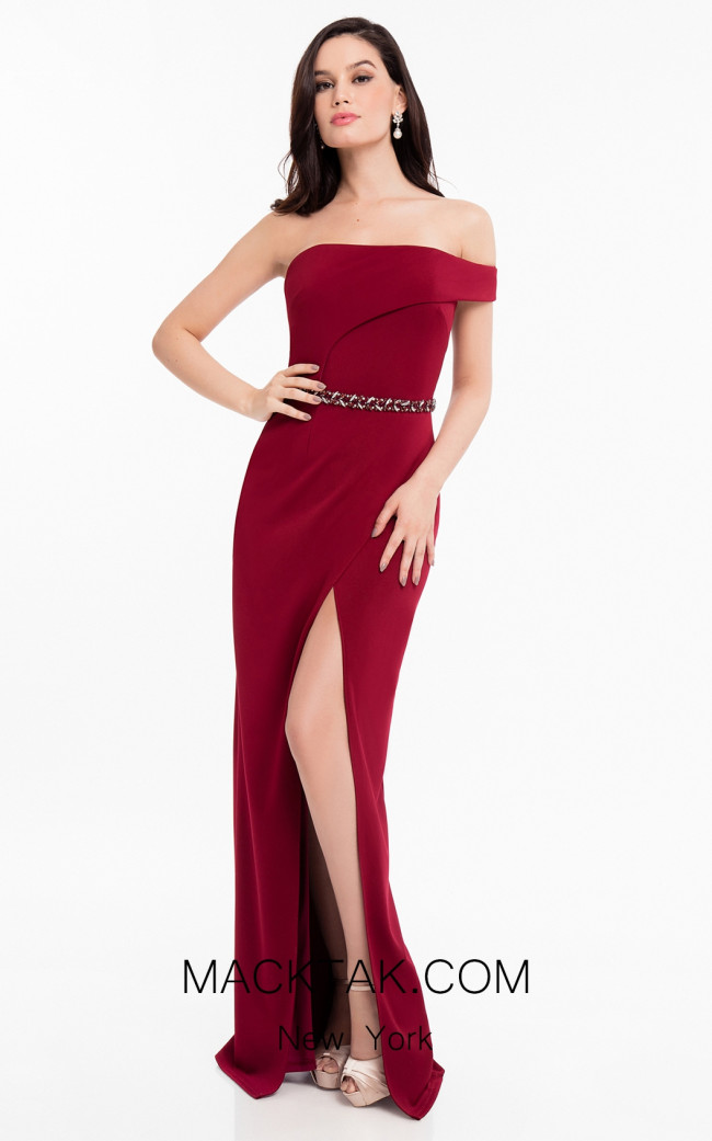 Terani 1821E7101 Wine Front Evening Dress