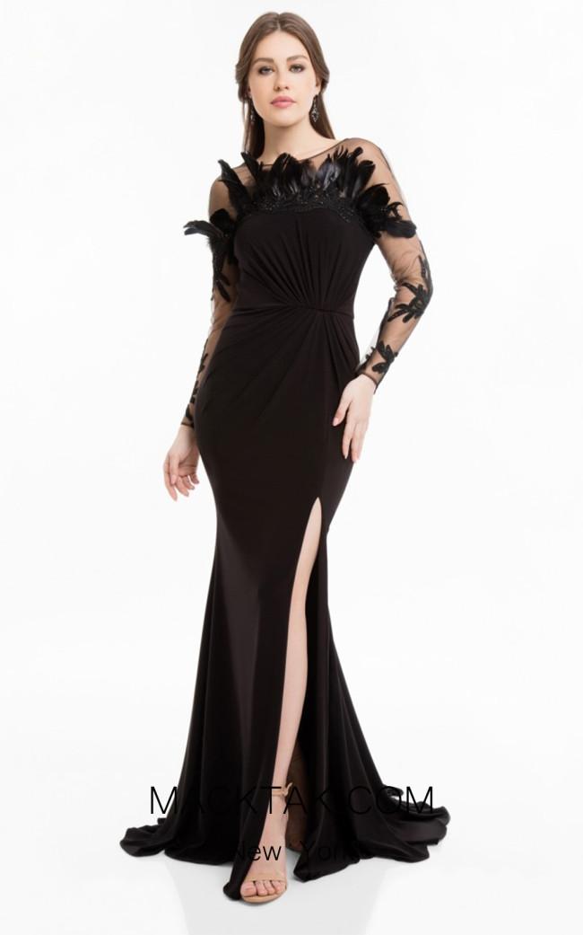 Terani 1821E7108 Black Front Evening Dress