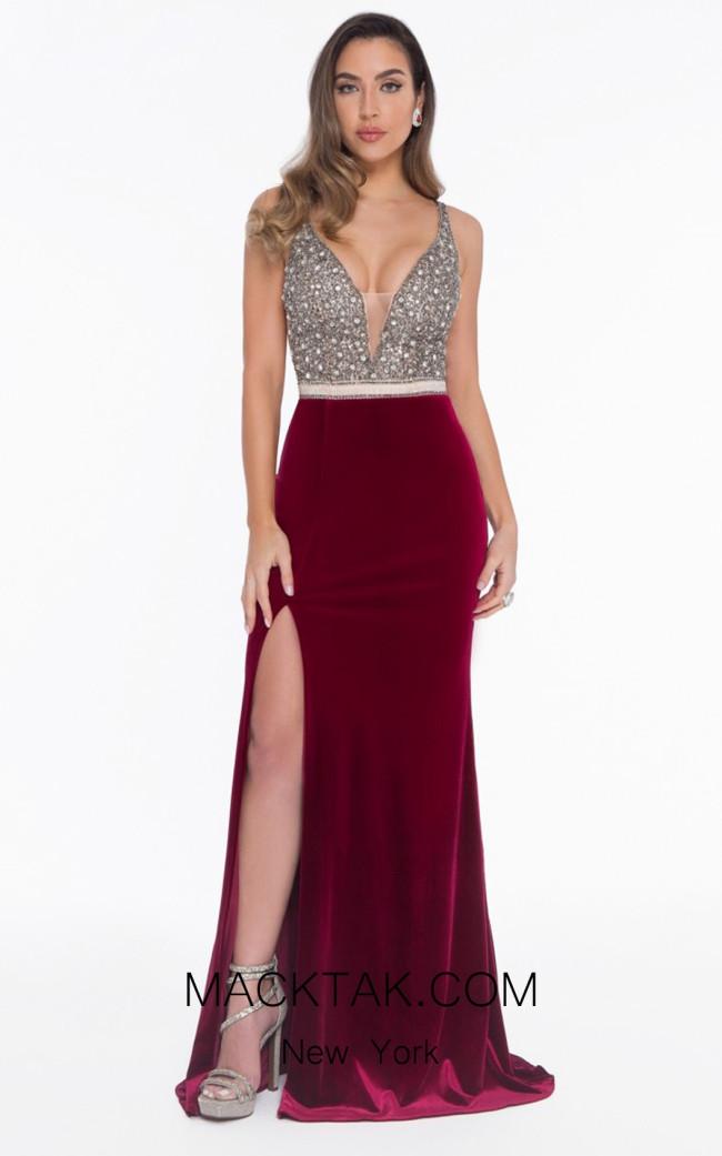 Terani 1821E7109 Nude Wine Front Evening Dress