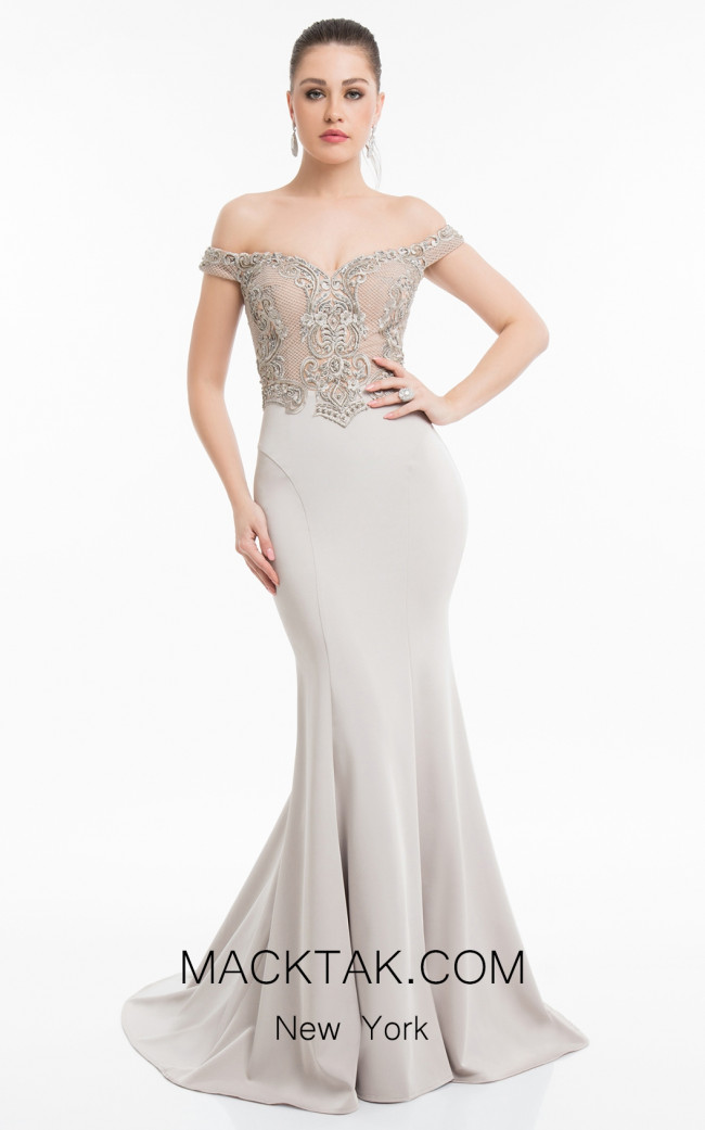 Terani 1821E7130 Putty Front Evening Dress