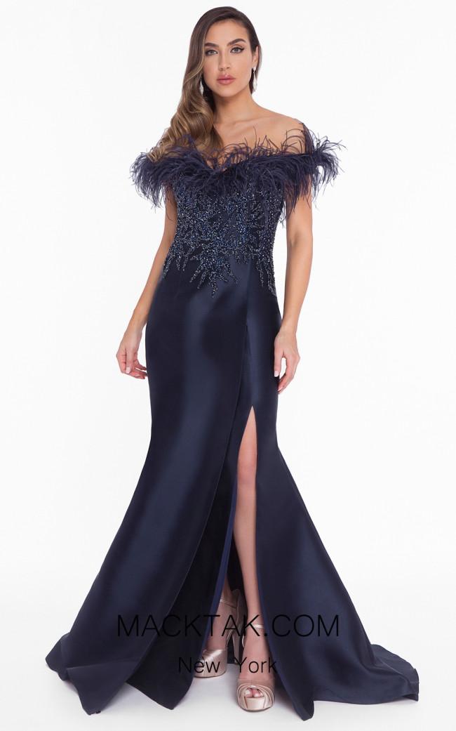 Terani 1821E7142 Navy Front Evening Dress