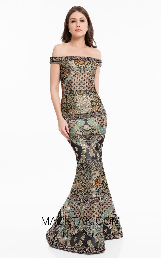 Terani 1821E7164 Black Gold Front Evening Dress