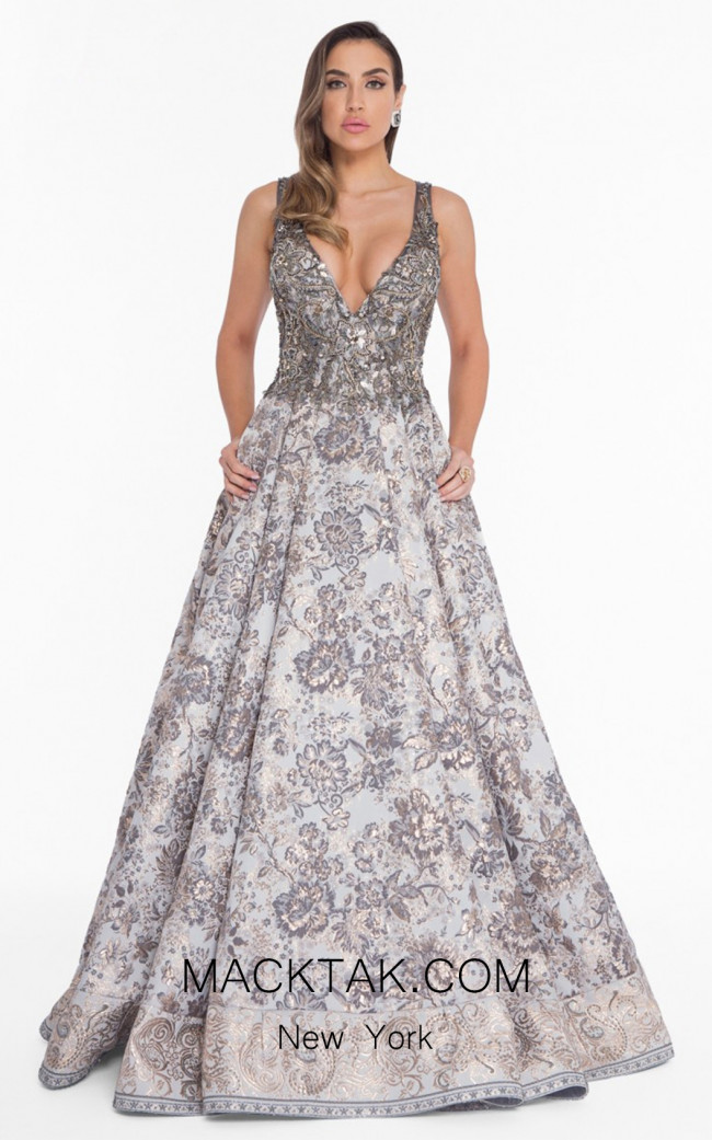Terani 1821E7169 Silver Gold Front Evening Dress