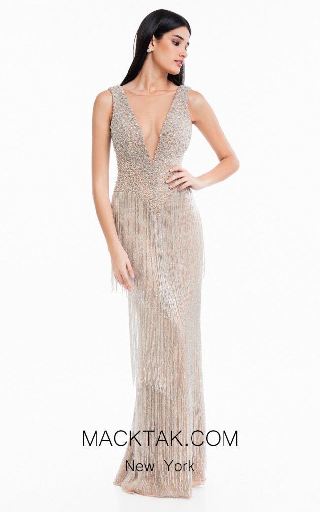 Terani 1821GL7401 Silver Crystal Front Evening Dress