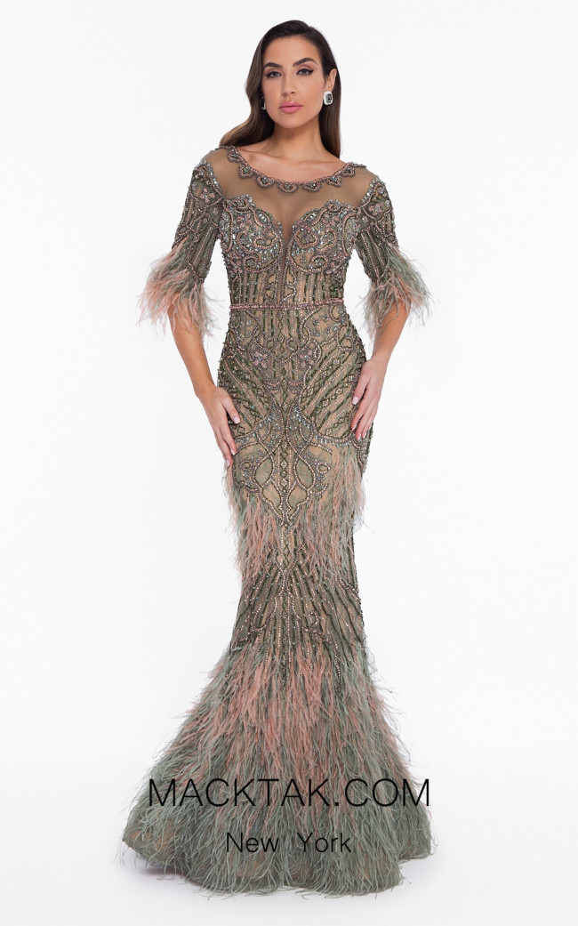 Terani 1821GL7412 Blush Olive Front Evening Dress