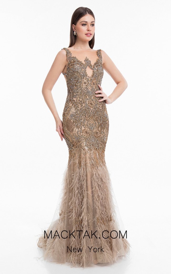 Terani 1821GL7423 Champagne Bronze Front Evening Dress
