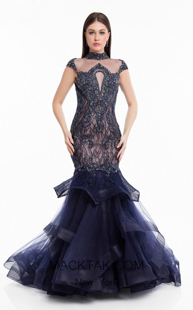 Terani 1821GL7435 Midnight Nude Front Evening Dress