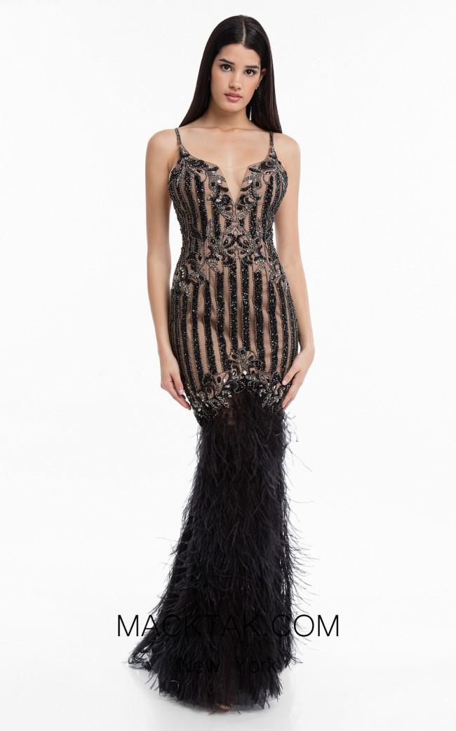 Terani 1821GL7439 Black Front Evening Dress