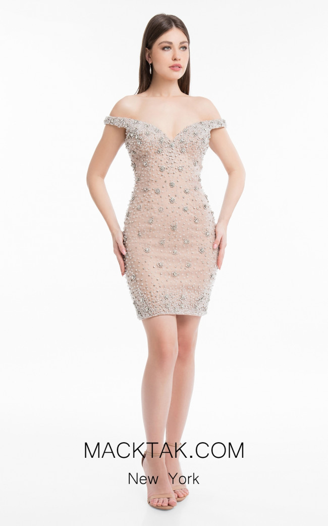 Terani 1821H7779 Silver Nude Front Dress