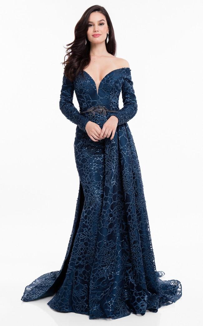 Terani 1821M7587 Deep Sea Front Evening Dress