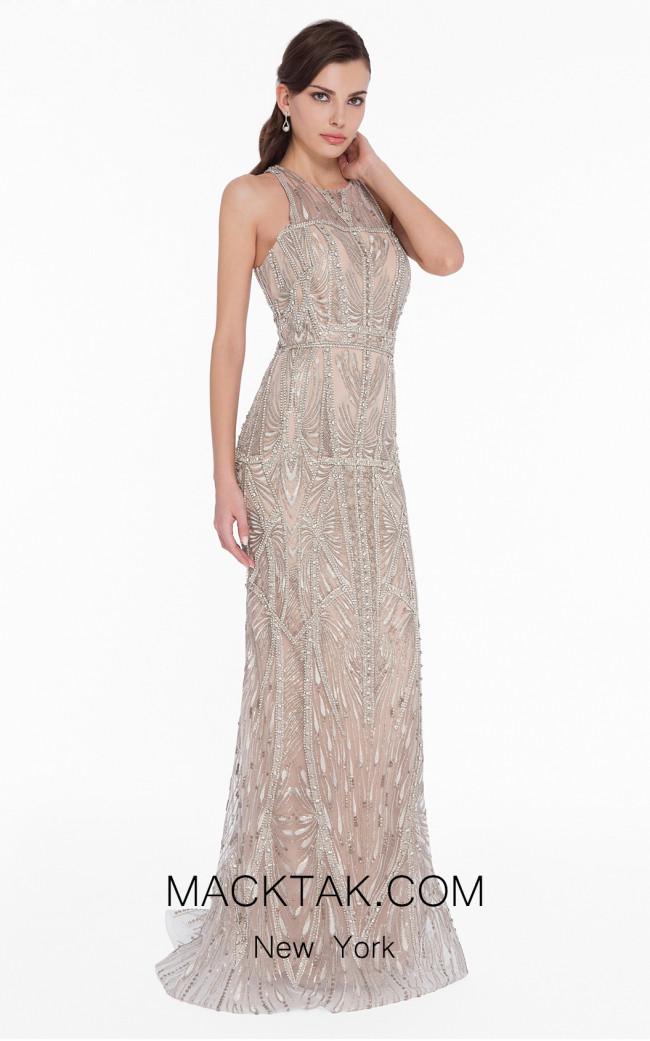Terani 1822GL7508 Ivory Gold Front Evening Dress