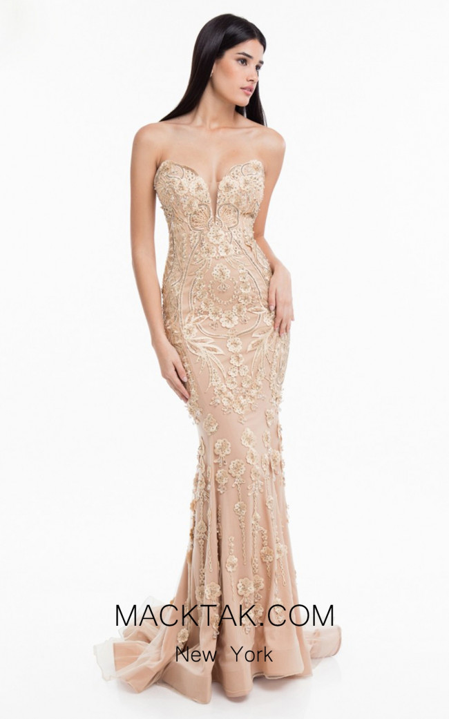 Terani 1822GL7514 Champagne Front Evening Dress