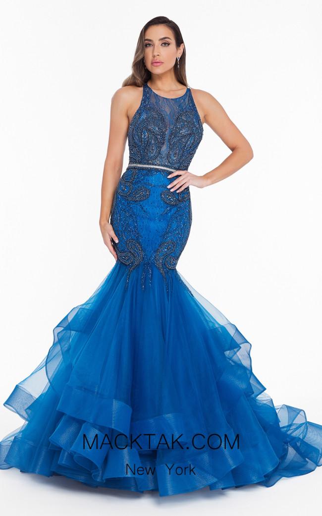 Terani 1822GL7515 Azure Front Evening Dress