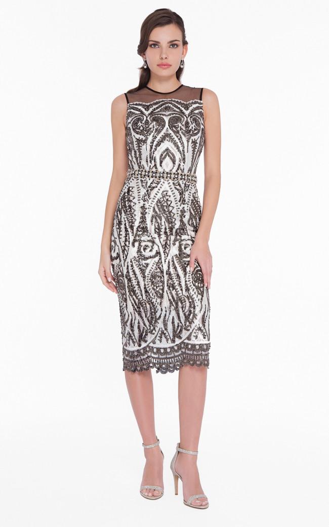 Terani 1823C7071 Ivory Black Front Evening Dress