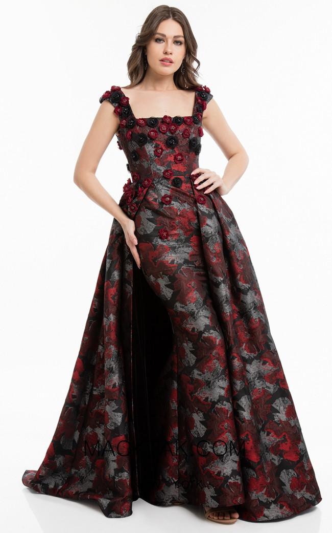 Terani 1823E7334 Red Black Front Dress