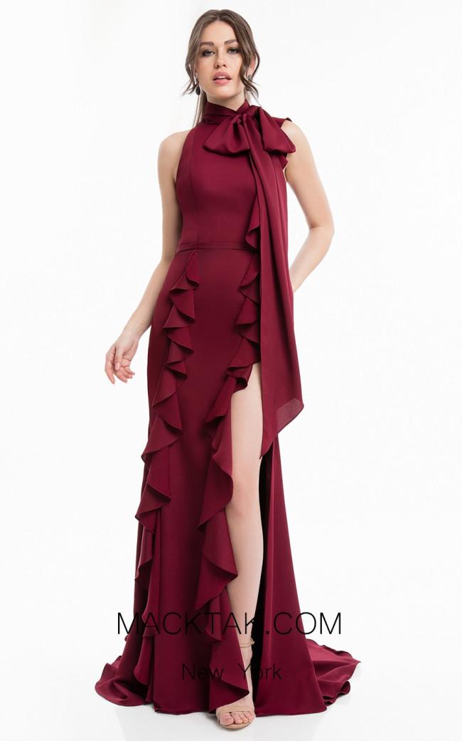 Terani 1823E7345 Wine Front Dress