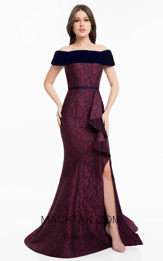 Terani 1823E7366 Wine Navy Front Dress