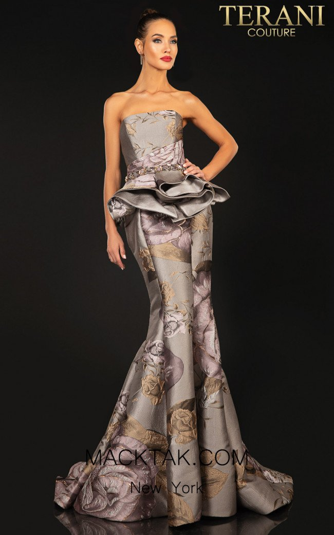 Terani 2011E2097 Taupe Rose Front Dress