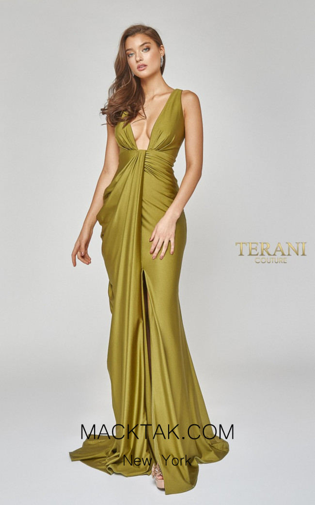 Terani Couture 1921E0121 olive Front Dress