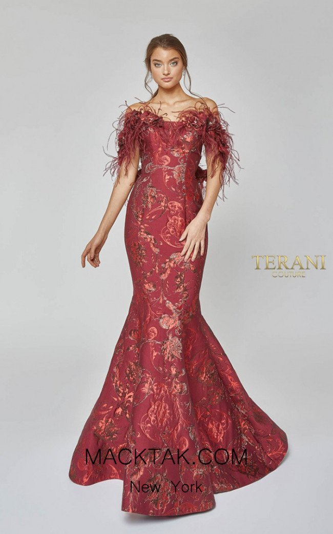Terani Couture 1921E0136 Red Front Evening Dress