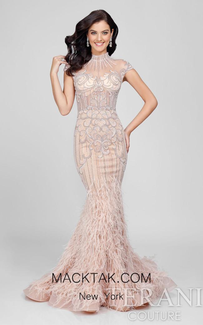 Terani Couture 1721GL4446 Blush Front Dress
